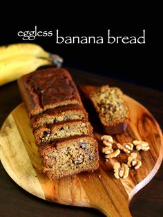 banana bread recipe, eggless banana bread recipe vegan banana bread recipe with step by step photo/video. simple flavourful bread with walnuts & ripe banana Eggless Banana Bread Recipe, Walnut Bread Recipe, Eggless Desserts, Eggless Recipes, Eggless Baking, Easy Bread Recipes, Banana Bread Recipes, Cake Recipes, Snack Recipes