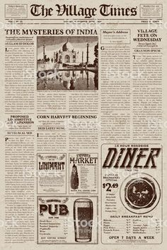 A vector illustration of an old fashioned newspaper in a Victorian. Vintage Newspaper, Newspaper Design, Vintage Paper, Aesthetic Stickers, Aesthetic Backgrounds, Aesthetic Wallpapers, Speisenkarten Designs, Newspaper Background, Newspaper Wallpaper