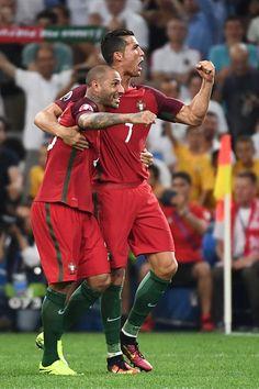 #EURO2016 Portugal's forward Ricardo Quaresma and Portugal's forward Cristiano Ronaldo celebrate after winning the Euro 2016 quarterfinal football match...