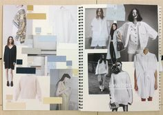 Fashion Sketchbooks - moodboard for work in progress, design development, sketchbook layouts