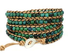 "Blueyes Collection, ""Amicable"" Blue Mix Green Gemstone Beads on Suede Leather Bracelet, 5 Wraps,4mm/bead >>> READ REVIEW @: http://www.ilikeboutique.com/boutique/blueyes-collection-amicable-blue-mix-green-gemstone-beads-on-suede-leather-bracelet-5-wraps4mmbead/"