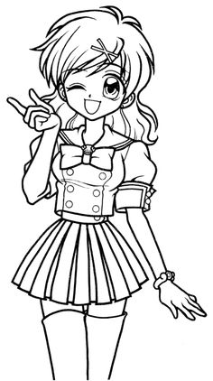 Anime School Girl Coloring Page