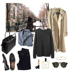 Outfit lay-out. Trenchcoat, sweater, striped blouse, handbag, black pants and shoes Classic Outfits, Casual Outfits, Cute Outfits, Looks Chic, Looks Style, Work Wardrobe, Capsule Wardrobe, Look Fashion, Fashion Outfits