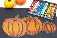 Glue resist art project for kids pumpkins