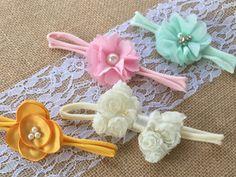 Baby Bow Headband Set - Girls Headband Set of 3 - Newborn Headbands - Baby Girl Headbands - Stretchy Baby Nylon Headband Set - Baby Headband - by CLBBoutique on Etsy