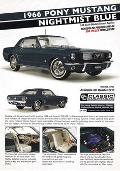 1966 Pony Mustang in Nightmist Blue from Classic Carlectables. Model features opening doors, boot and bonnet to reveal detailed engine. Comes with certificate of authenticity. Scheduled Production of Due quarter of 2019 Scale Models, Authenticity, Certificate, Diecast, Mustang, Pony, Engineering, Doors, Classic