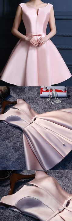 Short Prom Dresses, Pink Prom Dresses, Prom Dresses Short, Short Pink Prom Dresses, Prom Short Dresses, Short Homecoming Dresses, Short Party Dresses, Pink Homecoming Dresses, Pink Homecoming Dress Bowknot Lace-up Satin Short Prom Dress Party Dress