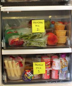 lunch-packing-station-for-kids.jpg Kids lunch box ideas for: foods, packing, kids do-it -yourself packing stations, and organizing ideas for a kids lunchbox station. Lunch Snacks, Snacks Kids, Travel Snacks, Lunch Menu, Toddler Meals, Kids Meals, Toddler Food, Baby Food Recipes, Healthy Recipes