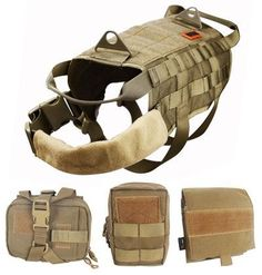Amastly Tactical Dog Molle Vest Harness Training Dog Vest with Detachable Pouches >> You will love this! More info here : Dog harness Hunting Vest, Hunting Dogs, Molle Vest, Molle Bag, Military Dogs, Military Gear, Dog Vest, Dog Pin, Gifs