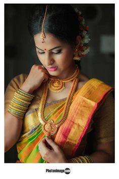 South Indian bride. Temple jewelry. Jhumkis.silk kanchipuram sari.Braid with fresh flowers. Tamil bride. Telugu bride. Kannada bride. Hindu bride. Malayalee bride.Kerala bride.