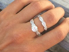 REAL 1.5 Carat Cubic Zirconia Sterling Silver Engagement Ring Sets