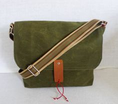 Green Waxed Bag Canvas Single Cotton Strap Messenger by ottobags, $79.00