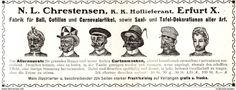 Original-Werbung/ Anzeige 1907 - COTILLON - KATALOG CHRESTENSEN - ERFURT - Ca. 180 X 60 Mm - Werbung