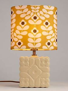 Orla Kiely Juniper Stem Ceramic Table Lamp, Yellow Fabric Lampshade, Lampshades, Zentangle, Paisley, Food Storage Boxes, 70s Decor, Vintage Interiors, Orla Kiely, Colorful Curtains