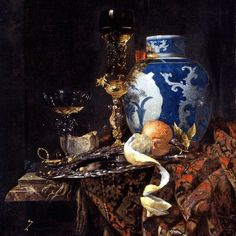 """Still Life with a Late Ming Ginger Jar"" by #DutchArtist Willem Kalf #oilpainting #1669 #indianapolismuseumofart a work that inspired by #ginger #bread #cupcakes with #orange #creamcheese frosting .... #painting2plate #NetherlandishArt #willemkalf During the 17th Century in Britain these Dutch still life's or Vanitas painting became popular & depicted ornate #Chinese #ceramics #rummers valuable #silverware #oriental #rugs & expensive imports such as oranges & spices; all symbolic of the…"