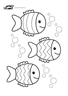 Line worksheets. Line worksheets. Preschool Writing, Preschool Worksheets, Preschool Activities, Fish Coloring Page, Coloring Pages For Kids, Summer Crafts, Crafts For Kids, Fish Template, Sea Theme