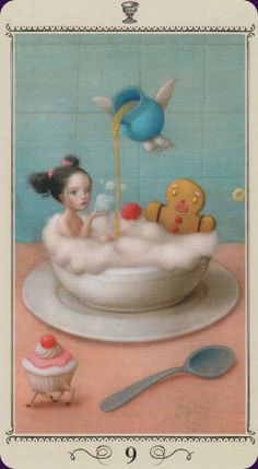 I've seen only a handful of images from the Nicoletta Ceccoli Tarot. Some really work for me (like this 9 of Cups), others leave me scratching my head. Art by Nicoletta Ceccoli, published by Lo Scarabeo.