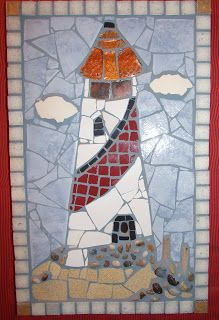 lighthouse mosaic used for red bathroom with Americana theme . link to more pics Mosaic Garden Art, Mosaic Tile Art, Mosaic Crafts, Mosaic Bathroom, Mosaic Stepping Stones, Stone Mosaic, Mosaic Glass, Sea Glass Crafts, Sea Glass Art