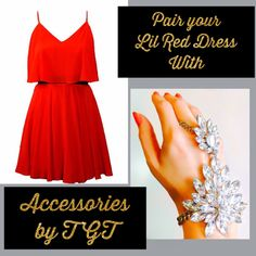 This New Years Eve, team your Red Dress with a #statement #TGT accessory!💃Shop now: www.theglocaltrunk.com #reddress #newyears #nye #accessory #handharness #crystal #costumejewellery #fashiondiaries #theglocaltrunk