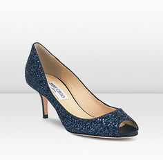 Jimmy Choo - These shimmering navy coarse glitter fabric peep toe pumps are perfect for evening chic.