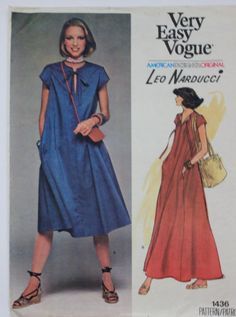 Vintage 1970s Leo Narducci Dress Pattern from Vogue American Designer Original. Size 14