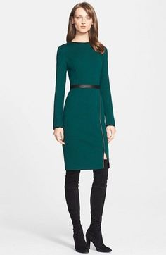 St. John Collection Leather Trim Milano Knit Sheath Dress available at #Nordstrom