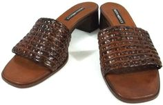 Sesto Meucci Shoes Womens Size 7.5 M Brown Leather Open Toe Slide On Heels #SestoMeucci #OpenToe