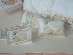 dollhouse miniature Jemima Puddle-Duck books and pillows