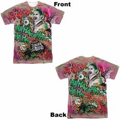 Suicide Squad Joker Psychedelic Cartoon Adult Tee - Front and Back Print