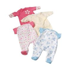"""Four Piece Sleeper Set for 12"""" Baby Dolls Constructive Playthings"""