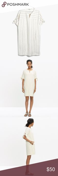 Madewell Tie-Sleeve Dress in Stripe EUC, like new, no flaws. Off white. 100% cotton.  Pockets! Lined. Perfect for a warm weather vacation! Madewell Dresses
