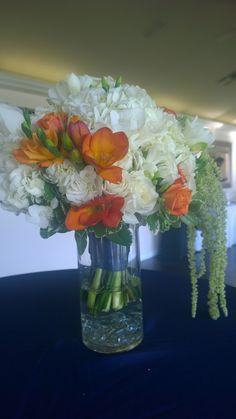Orange, green and white Bridal Bouquet