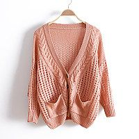Loose bat sleeve knitted Cardigan Sweater jacket