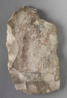 Ostracon: Ramesses II Suckled by a Goddess, c. 1279-1213 BC Egypt, New Kingdom, Dynasty 19, reign of Ramesses II, 1279-1213 BC painted limestone, Overall - h:31.20 w:18.20 d:3.30 cm (h:12 1/4 w:7 1/8 d:1 1/4 inches) Wt: approx. 5 lbs.