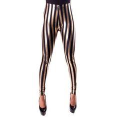 Black Gold Stripe Leggings