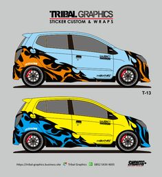 Sticker Mobil Sorong, Ayla & Agya Sticker Design.  TRIBAL GRAPHICS jln. Trikora,Transad,Aimas Kab.Sorong Papua Barat Call/SMS/WA (0852-5434-4693)  #TribalGraphics #CuttingSticker #3DCuttingSticker #Decals #Vinyls  #Stripping #StickerMobil #StickerMotor #StickerTruck #Wraps  #AcrilycSign #NeonBoxAcrilyc #ModifikasiMobil #ModifikasiMotor #StickerModifikasi  #Transad #Aimas #KabSorong #PapuaBarat Custom Wraps, Design Portfolios, Portfolio Design, Sticker Design, Stickers, Portfolio Design Layouts, Decals