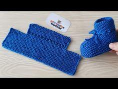 Knitting very easy newborn baby booties socks handmade / Knit Baby socks models - Stricken Baby Booties Knitting Pattern, Booties Crochet, Crochet Baby Booties, Baby Knitting Patterns, Baby Patterns, Knitted Baby, Crochet Socks, Knitted Slippers, Crochet Granny