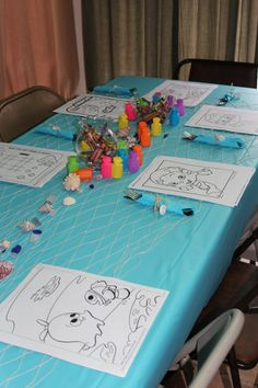 Kids table had crayons in the fish bowls, bubbles and bubble guppy color page print outs from nickelodeon.com