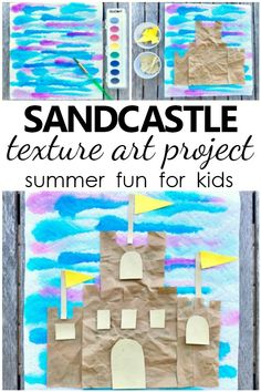 Design your own sandcastles with this creative Sandcastle Texture Summer Art Project for kids. Great summer craft idea for kids! Summer Fun For Kids, Summer Activities For Kids, Fun Crafts For Kids, Art Activities, Art For Kids, Elderly Activities, Dementia Activities, Cool Kids, Summer Crafts For Preschoolers