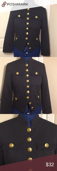 Black military fitted jacket wool blend size Small Beautiful fit! Gorgeous buttons! 49% Cotton 30% Viscose  19% Wool 2% Spandex  Fully lined! Lining: 100% Polyester  MADE IN USA Any questions just ask  :) Fashionista Jackets & Coats Utility Jackets