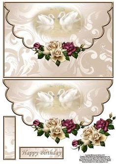 Antique roses and swans envelope card with decoupage on Craftsuprint designed by Amanda McGee - Another of my envelope cards. This features stunning background with faded swans design and antique roses - Now available for download!