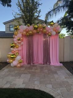 Photo Backdrop and Balloon Garland Star Themed, Twinkle Twinkle Little Star, Babyshower, Quinceańera, Sweet Balloon Garland and Draped Backdrop Sweet 16 Decorations, Birthday Balloon Decorations, Birthday Balloons, 16 Balloons, Ballon Backdrop, Balloon Garland, Baby Girl Shower Themes, Girl Baby Shower Decorations, Party Kulissen