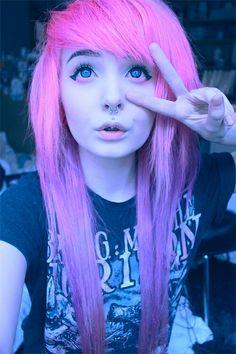 Emo girl style hair scene.