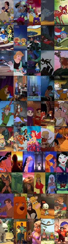 Disney Animated Movies, 1937-2012 One day I will watch them all in order.