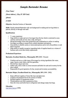Here Comes Another Free Sample Bartender Resume Example You Can