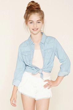 Girls Tulip-Front Shorts (Kids) #f21kids