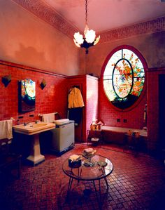 The most amazing red tiled bathroom