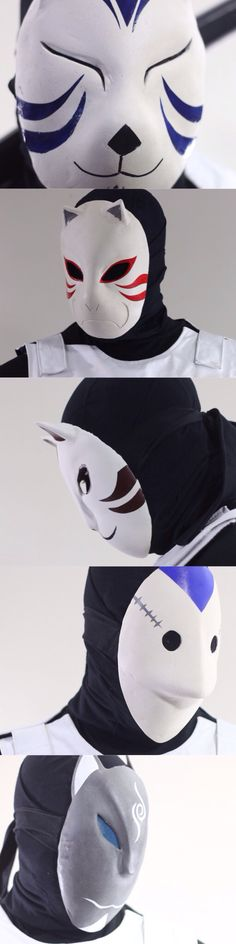 Various ANBU cosplay masks handmade and available through the ANBU connect smartphone app.  Naruto shippuden elite black ops squad come to life.