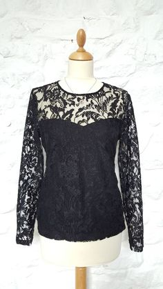 MANGO Floral Embroidered Lace Top Blouse Shirt Party Work Black Size M 10 12 #Mango #Blouse