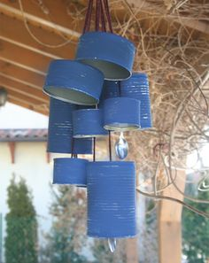 Here's a great way to make a unique windchime using recycled cans and spoons and painting in your favourite colour. Hang them on the patio or in your garden. http://www.home-dzine.co.za/crafts/craft-windchime-from-recycled-cans.htm